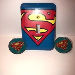 Superman light switch cover & 2 drawer knobs
